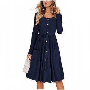 Dresses & Skirts - NWT NAVY BLUE DRESS WITH POCKETS
